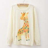 Wholesale Lowest Prices Wholesale Sweaters - Wholesale-2016 Fashion Cartoon Giraffe print girls sweaters long sleeved O-neck Autumn & Spring fashion women knitwear low price free ship