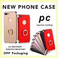 Wholesale Hard Case Iphone Package - For iphone7 Phone Case Plating Three-stage 7plus All-inclusive PC Hard Case Three-in-one Ring Buckle Bracket Wholesale with Opp Package