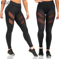 Wholesale High Waist Mesh Leggings - Wholesale- Sexy Mesh Patchwork Fitness Leggings ZANZEA Women Pants 2017 Ladies Casual High Elastic Waist Leggings Trousers Hot Sale