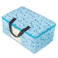 Cherry Print Folding Zippered Clothes Éponge Duvet Storage Bag Holder Container Blue