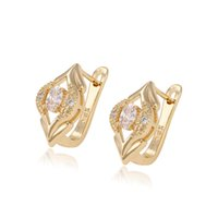 boucles d'oreilles en or 14 carats achat en gros de-Xuping 14K Gold Color Eye Shape Copper Huggie Quality Zirconia Boucles d'oreilles pour femmes Factory Price Luxury Copper Huggie pour cadeaux DH-14-9073513