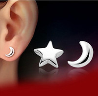 Brincos de ouro branco para mulheres Star Moon Ear Jewelry 30% 925 Sterling Silver Plating Stud Earrings For Islamic Muslims Vintage Jewelry