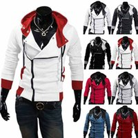 Wholesale Stylish Costumes Men - Fashion Stylish Mens Assassins Creed 9 Desmond Miles Costume Hoodie Cosplay Coat Jacket Plus Size 5XL free shipping