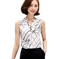 Wholesale V Neck Sleeveless Button Blouse - New Summer Chiffon Blouse Women Printed Sleeveless Blouse White Striped Blouses Shirts Female Office Shirt 718