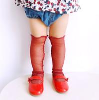 Wholesale Best Fashion Wear - Fashion spun gold baby Socks mesh ultrathin Girls silk stockings Children Knit Knee High Socks best Baby Booties Summer kids Wear A618