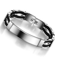 Wholesale Fiber Magnetic Bracelet - Newest Fashion Jewelry Men's Women's 316 L Magnetic Stainless Steel Bracelets With Carbon Fiber Inlay BA101126 Top Quality