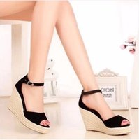 Wholesale Size 32 Sandals - Koovan Women Sandals 2017 New Summer Fashion Straw Wedge Sandal Platform Shoes Fish Head Shoes Woman Shoes Larger Size 32-43 Rome Sandals