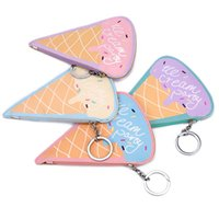 Wholesale ice cream zipper women wallet cute money purse small child coin purse bag fashion earphone pouch Girls gift