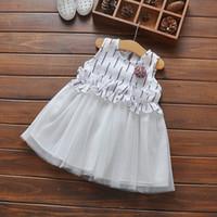 Wholesale Strip Dance Dress - Children and girls vertical strip waist lace vest dress 2017 summer new flowers sleeveless baby dance skirt girl clothes L93