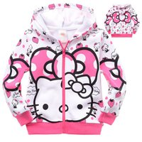 Wholesale Hello Kitties Clothes - cute causal girl's sweatshirt coat Autumn hello kitty hoodie coat for 2-8yrs girls kids children outerwear clothes
