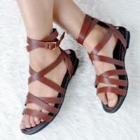 ingrosso sandali in cotone marrone-Sandali tacco piatto donna Sandali aperti con punta aperta in gomma con cinturino alla caviglia Sandali estivi 2017 Gladiator Roma Style Shoes