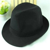 Wholesale British Top Hat Black - Fashion Jazz Hat Curly Floppy for Women Men Brim British Hip Hop Fedora Hat Cap Unisex Black Top Quality DHL Free