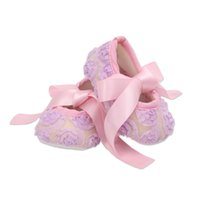 Wholesale Baby Baptism Shoes Lace - Baby girls ribbon bowknot lace shoes 10 colors lace flower toddlers first walkers for 0-2T anti-slip cute toddlers baptism shoes for party