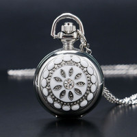 Wholesale Ladies Crystal Necklace Watches - Wholesale-New Fashion Dress Watch Mirror Elegant Silver Jade Crystal Snow Flower Quartz Pocket Watch Necklace Chain Women Lady Girl Gifts