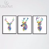 Wholesale triptych painting abstract - Triptych Original Watercolor Deer Head Animals A4 Art Print Poster Wall Pictures Living Room Canvas Painting No Frame Home Decor