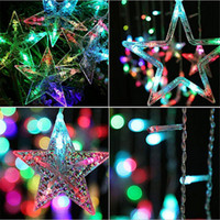 Wholesale Plug String Lights - 2m 138leds Christmas Lights EU Plug Romantic Fairy Star LED Curtain String Lighting For Holiday Wedding Garland Party Decoration 220V 110V
