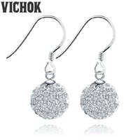 Wholesale Dangles Charms Clips - Ball Crystal Clip On Drop Earrings For Women 925 Sterling Silver Party Charm Dangle Earrings Fashion Jewelry Multicolor VICHOK