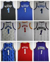 Wholesale Mens T Shirts Xxl - Throwback Tracy McGrady Basketball Jerseys Retro T-Mac No.1 Tracy McGrady Shirts Blue White Red Vintage Stitched Jersey Cheap Mens S-XXL