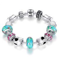 ingrosso branello d'amore tibetano-Hot style Bracciale Blue Love Bracciale fine argento tibetano Beads Pandora Charms Perle di vetro Bracciale con perline di perline fai da te