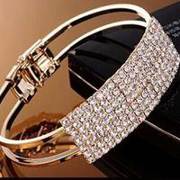 Wholesale Bling Jewellery - Fashion Women Bangle Wristband Bracelet Crystal Cuff Bling Lady Gift Girls Wedding Korean Jewellery 2 Colors