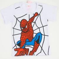 Wholesale t shirts boys spiderman - 2017 Summer Boy's T Shirts Spiderman Superman Minions Cotton Short-Sleeved T-Shirt Children's Cartoon Printing kids Baby Boys Girls Clothes
