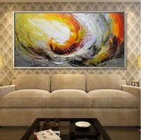 cuchillo de paleta moderno al por mayor-Cuchillo de paleta de colores cálidos pintados a mano pintura al óleo abstracta moderna lienzo arte de la pared foto regalo decoración para el hogar sin marco a09