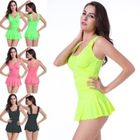 Wholesale Conservative Skirts - Sexy Swimwear Skirt Style Siamese Swimwear Obscure Was Thin Women's Swimwear Waist Gather Together Clothing Conservative Girl