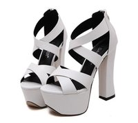 Wholesale trendy platform heels - Trendy white black cross strap platform thick high heels wedding shoes 13cm size 34 to 39