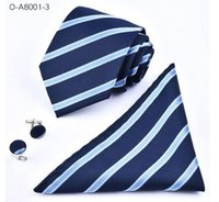 Blue black silk cuffs - Senior fashionable handmade Necktie hanky and cuff link matching set O A8001
