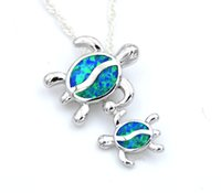 Wholesale Sea Green Necklace - Sea World Baby Turtle Blue Fire Opal Pendant Necklace
