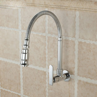 Wholesale Chrome Single Handle Kitchen Faucet Cold Water Faucet Wall Mounted Brass Kitchen Taps
