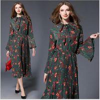 Wholesale Elegant Women Long Sleeve - 2017 Spring Pleated Elegant Print Panelled Crew Neck Flare Sleeve Empire Women Long Dresses Green S M L XL 170316-01