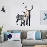 papel pintado decorativo moderno al por mayor-Deer Family Silhouette Sticker Estilo Moderno Venture Dormitorio Sala de estar TV PVC Decorativo Pegatinas de Pared Wallpaper Home Decor Decal 60 * 90 cm