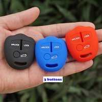 Wholesale Mitsubishi Car Remote Covers - silicone rubber car key fob cover cap skin protect for Mitsubishi ASX Outlander Lancer EX Galant Pajero 3 buttons remote repair