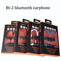 Wholesale Iphone Head Sets - BT-2 BT 2 ear-hook in ear stereo wireless bluetooth earphone sports earbud hand free portable head set four colors with retail box