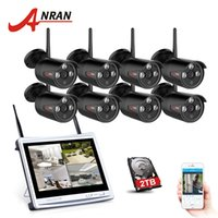 Wholesale Security Cameras 8ch - ANRAN 8CH Wireless Surveillance System 12 Inch LCD Screen Wifi NVR 720P HD Outdoor Night Vision Security Camera System 2TB HDD Optional