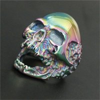 Wholesale Skull Color Ring - Support Dropship Size 7-15 Newest Huge Rainbow Color Evil Skull Ring 316L Stainless Steel Popular Biker Ghost Skull Ring