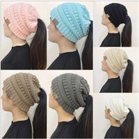 Wholesale Knitted Hats Pigtails - CC Ponytail Beanie Knitted Winter Crochet Skull Caps with Pigtail Pony Tail Hole Women Girls Casual Beanies Hats outdoor Caps