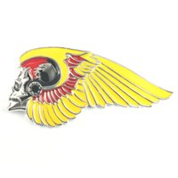 Wholesale Skeletons Motorcycles - 2017 Hot sales New Arrived Skeleton Wing Brooch Motorcycle Biker Clothing jacket Hells Angels Pins Man Party Rock Gift Free Shipping