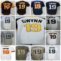 Wholesale Black Tony - Mens Womens Childrens Stars Player San Diego 19 Tony Gwynn Cool Baseball Jerseys White Brown  styles on front pls contact us to offer