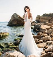 Wholesale Eva Caps - 3 4 long sleeves lace beach wedding dresses 2018 eva lendal bridal v neckline backless short train sheath bridal wedding gowns