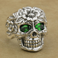 Wholesale bikers style silver rings for sale - Group buy LINSION Sterling Silver Flower Skull Ring Green CZ Eyes Mens Biker Rock Punk Style W305 US Size