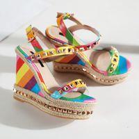 Wholesale Ethnic Sandals - Summer Dress Platform Women Party Shoes Ethnic Wedge Sandals Girls Glitter Platform Sandals Open Toes Valentine Rainbow Wedges