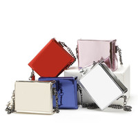 Wholesale Handbag Mirror Silver - 2017 Fashion shoulder bag Laser mirror square single shoulder bag aslant mini dinner bags Tassels handbag purse