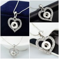 Wholesale Mini Heart Necklaces - Women Jewelry Noosa Heart Pendant Ginger Snap Button Crystal Metal Pendants Fit 12mm Mini Snap Button Christmas Gift C118L