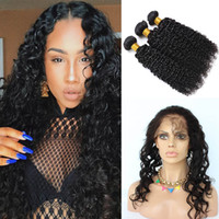 Wholesale kinky permed lace closure - 360 Lace Frontal With Bundle Kinky Curly With Closure Wet And Wavy Lace Frontal Closure Peruvian Hair With 360 Closure Curly Hair Bundles