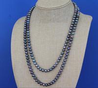 ingrosso maglioni di perle neri-trasporto libero vera e propria catena maglione di 48 pollice di lunghezza 8-9mm collana delle donne di colore del pavone Rondelle Pearl corda nessuna falsificazione