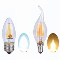 Wholesale Candle Warmers White Wholesale - Edison Filament lights dimmable LED Candle Bulbs 2W 4W 6W Led light E14 E12 E27 B22 360 emitting candelabra bulb 110v 220v