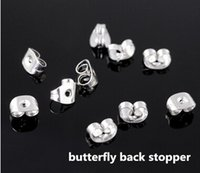 Wholesale Studs Butterfly Backs - Wholesale 500pcs 6X5mm 925 Sterling Silver Plated Butterfly back stoppers Earrings Jewelry Findings For Stud Pin