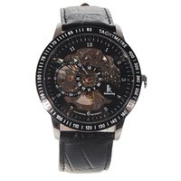 Wholesale Skeleton Manual Watch Men - Fashion Winner Black Leather Band Stainless Steel Skeleton Mechanical Watch For Men Gold Mechanical Wrist Watch Manual mechanical Watches